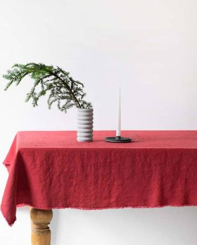 Červený lněný ubrus Linen Tales Classic,140x300cm