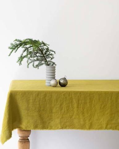 Zelený lněný ubrus Linen Tales Classic,140x140cm