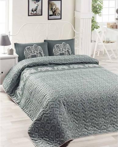 Set bavlněného přehozu přes postel a 2 povlaků na polštáře Lesso Cara, 200 x 220 cm