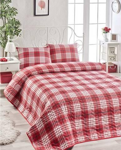 Set bavlněného červeného přehozu přes postel a povlaku na polštář Muro Gerro, 160 x 220 cm