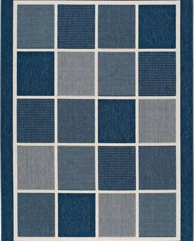 Modrý venkovní koberec Universal Nicol Squares, 120 x 170 cm