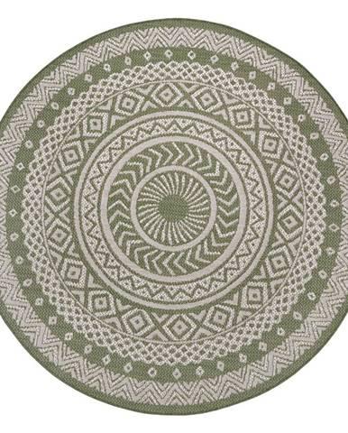 Zeleno-béžový venkovní koberec Ragami Round, ø 160 cm