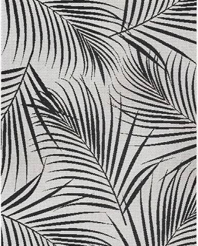 Černo-šedý venkovní koberec Ragami Flora, 80 x 150 cm