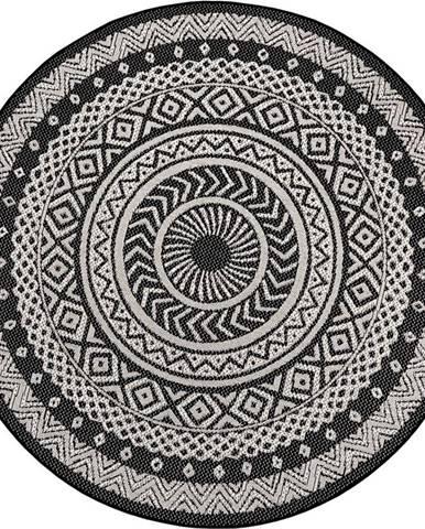 Černo-šedý venkovní koberec Ragami Round, ø 120 cm
