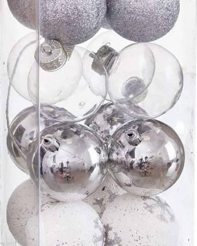 Sada 16 vánočních ozdob ve stříbrné barvě Unimasa Foam, ø 6 cm