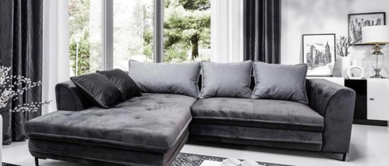 Rohová sedačka rozkládací genoa levý roh úp šedá, černá
